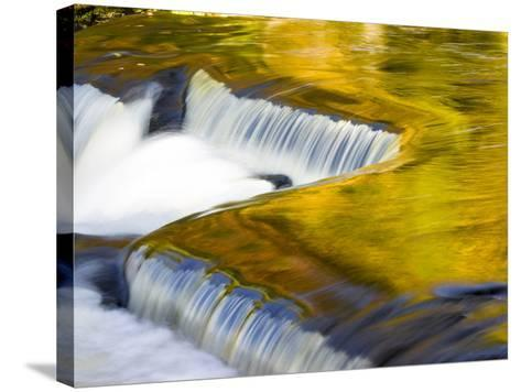 Michigan. Trees Reflect in Cascade Above Bond Falls, Ontonagon River-Julie Eggers-Stretched Canvas Print