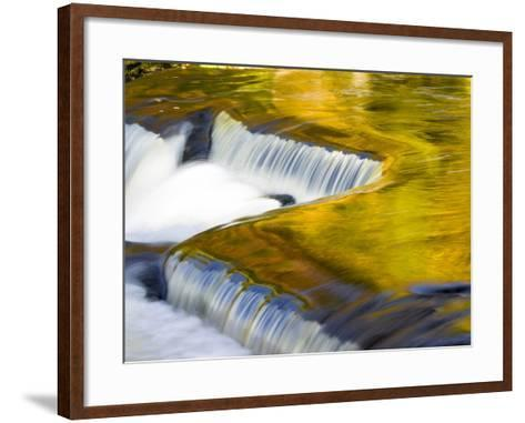 Michigan. Trees Reflect in Cascade Above Bond Falls, Ontonagon River-Julie Eggers-Framed Art Print