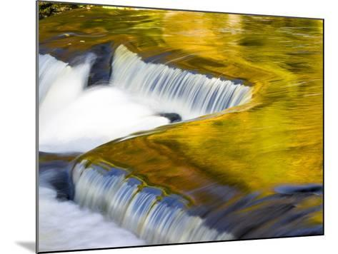 Michigan. Trees Reflect in Cascade Above Bond Falls, Ontonagon River-Julie Eggers-Mounted Photographic Print
