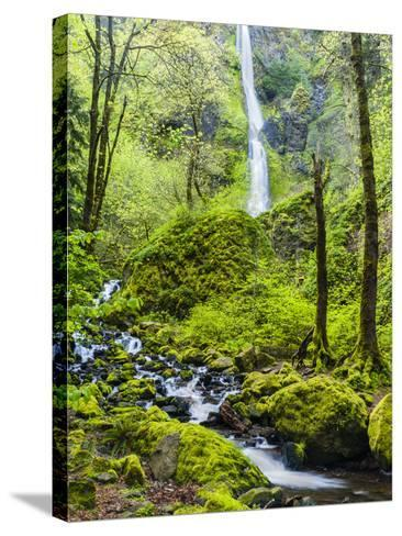 Oregon, Wahkeena Falls. Located Along I-84, the Columbia River Gorge-Richard Duval-Stretched Canvas Print
