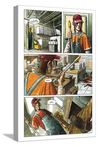Zombies vs. Robots - Comic Page with Panels-Paul McCaffrey-Stretched Canvas Print