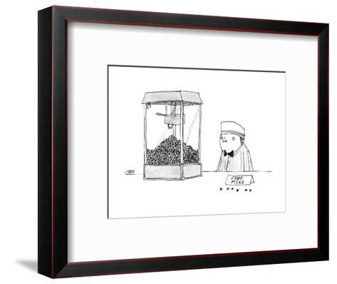 Movie theater attendant selling popcorn, to the right of the machine are t? - New Yorker Cartoon-Edward Steed-Framed Art Print