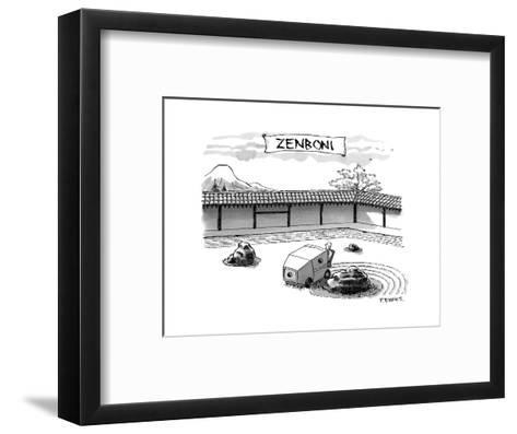 A guy is driving around a zen garden making the lines in the sand. At the ? - New Yorker Cartoon-Pat Byrnes-Framed Art Print