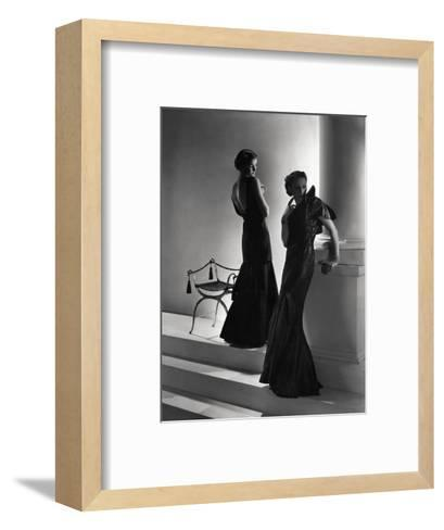 Models Wearing (From Left) Long Backless Dress with Two-Tiered Skirt by Worth--Framed Art Print