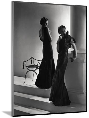 Models Wearing (From Left) Long Backless Dress with Two-Tiered Skirt by Worth--Mounted Premium Photographic Print