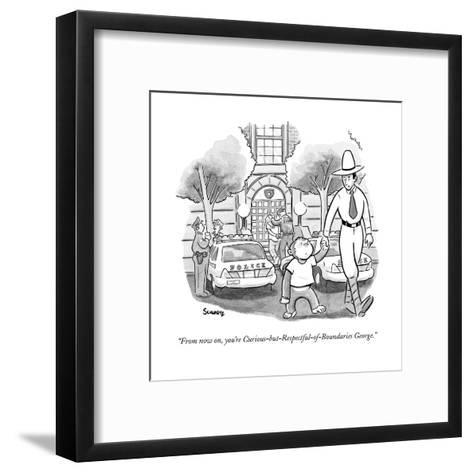 """From now on, you're Curious-but-Respectful-of-Boundaries George."" - New Yorker Cartoon-Benjamin Schwartz-Framed Art Print"