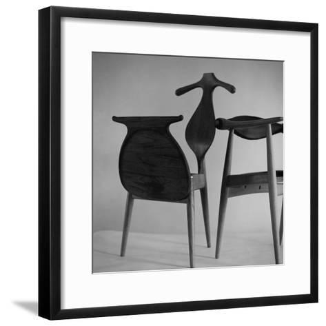 Handmade Chair and Clotheshorse by Hans Wegner of Denmark--Framed Art Print