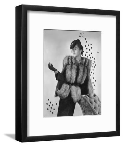 Model Wearing Grosgrain Belted Silver Fox Jacket with Navy Blue Fedora and Jewelry by Verdura--Framed Art Print