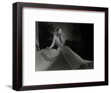 Mrs. John Wilson Wearing White Lace Dress and Jewelry by Cartier--Framed Art Print