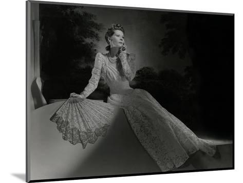 Mrs. John Wilson Wearing White Lace Dress and Jewelry by Cartier--Mounted Premium Photographic Print