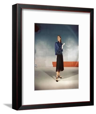 Model Wearing Black Lace Skirt and Satin and Lace Jacket from Hattie Carnegie--Framed Art Print