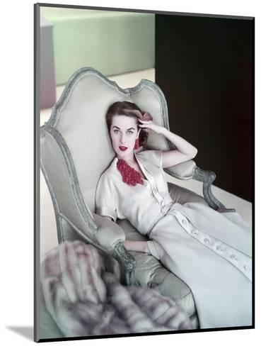 Model Reclining in a Chair Wearing Beige Dress of Slubbed Italian Silk with a Satin Closing--Mounted Premium Photographic Print