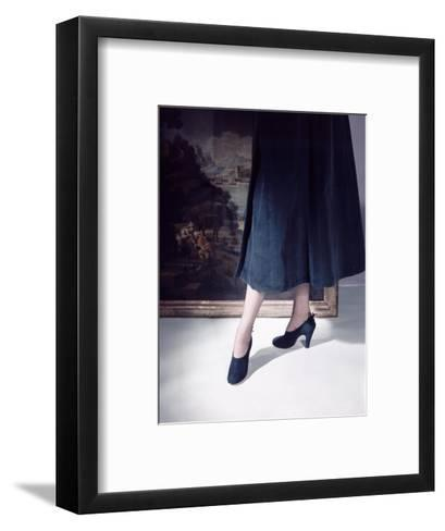 Close-Up of Model's Leg's Wearing Green Suede Shoes with High Front and Lacing in Back--Framed Art Print