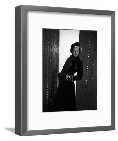 Model Wearing Basket-Weave Wool Double-Breasted Coat with White-Bead Trim and Velvet Beret--Framed Art Print