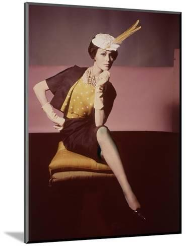 Duplicate of Model Seated on Yellow Cushion--Mounted Premium Photographic Print