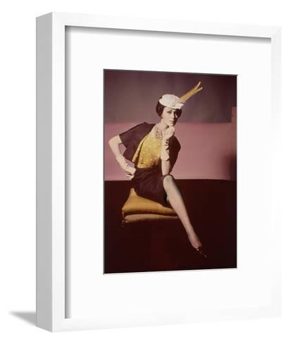 Duplicate of Model Seated on Yellow Cushion--Framed Art Print