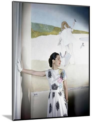 Model Standing before Mural by Vertes Wearing Floral Print on White Rayon Crepe Dress--Mounted Premium Photographic Print