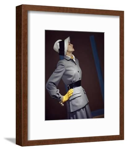 Model Wearing Belted Fitted Gray Suit--Framed Art Print