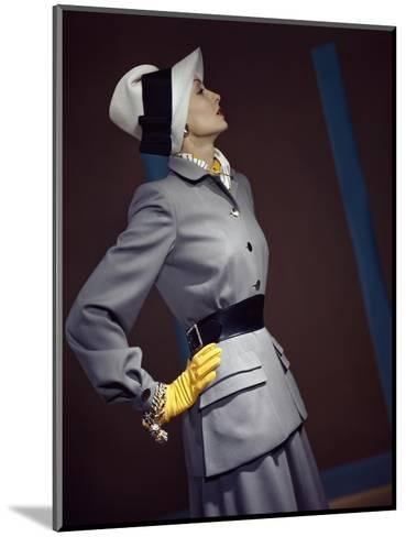 Model Wearing Belted Fitted Gray Suit--Mounted Premium Photographic Print