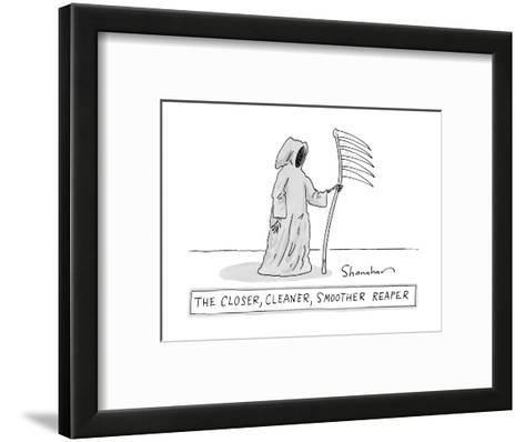The Closer, Cleaner, Smoother Reaper. A Grim Reaper stands with a s? - New Yorker Cartoon--Framed Art Print