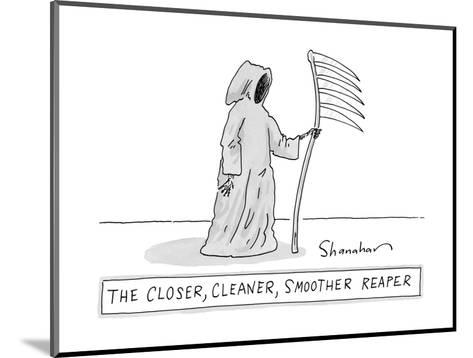 The Closer, Cleaner, Smoother Reaper. A Grim Reaper stands with a s? - New Yorker Cartoon--Mounted Premium Giclee Print