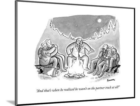 """""""And that's when he realized he wasn't on the partner track at all!"""" - New Yorker Cartoon--Mounted Premium Giclee Print"""