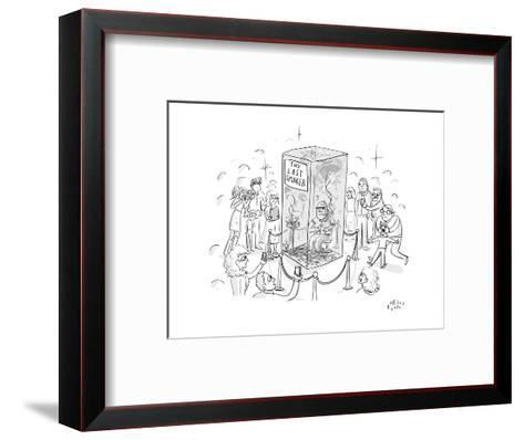 """(A man smokes cigarettes in a glass box with a sign that reads """"The Last S? - New Yorker Cartoon-Farley Katz-Framed Art Print"""
