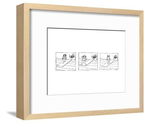 Three Panels depicting a sailor walking the plank of a pirate ship, striki? - New Yorker Cartoon--Framed Art Print
