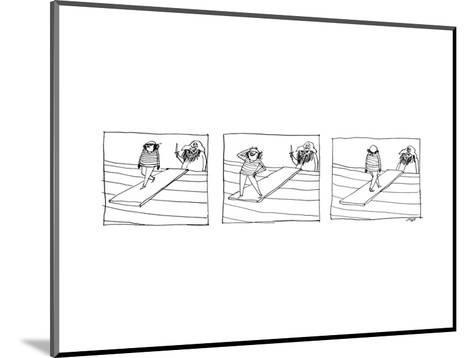 Three Panels depicting a sailor walking the plank of a pirate ship, striki? - New Yorker Cartoon--Mounted Premium Giclee Print