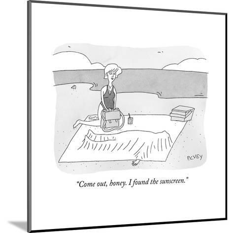 """""""Come out, honey. I found the sunscreen."""" - New Yorker Cartoon--Mounted Premium Giclee Print"""