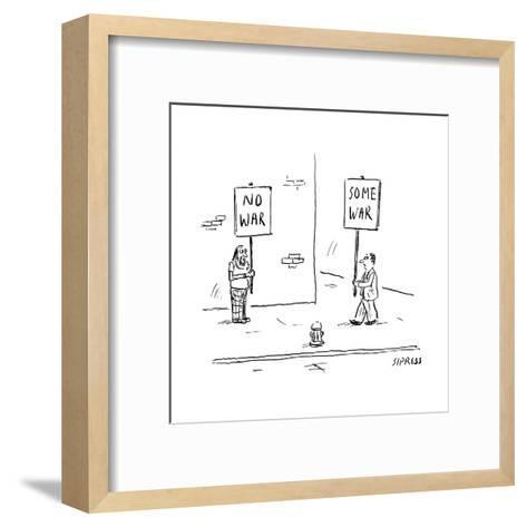 A man holds up a sign that says No War, while another holds up a sign that? - New Yorker Cartoon--Framed Art Print