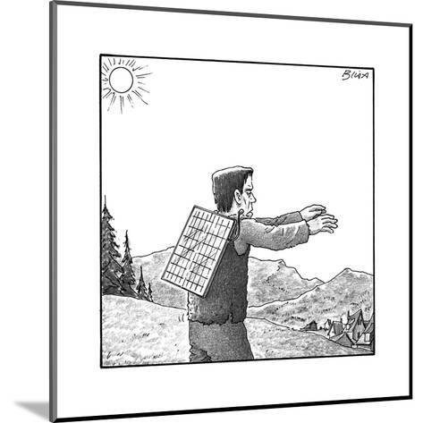Frankenstein's monster walks with a solar panel on his back. - New Yorker Cartoon--Mounted Premium Giclee Print