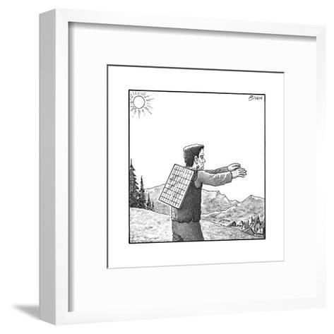 Frankenstein's monster walks with a solar panel on his back. - New Yorker Cartoon--Framed Art Print