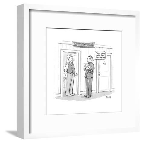 """""""Early Sexting"""" -- An old-style bellhop reads an erotic telegram to a hote? - New Yorker Cartoon--Framed Art Print"""