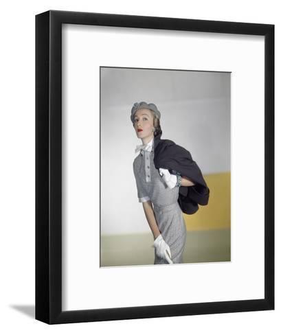 Model Wearing a Suede Finish Botany Wool Brown Jacket and a Miron Worsted Checked Flannel Dress--Framed Art Print