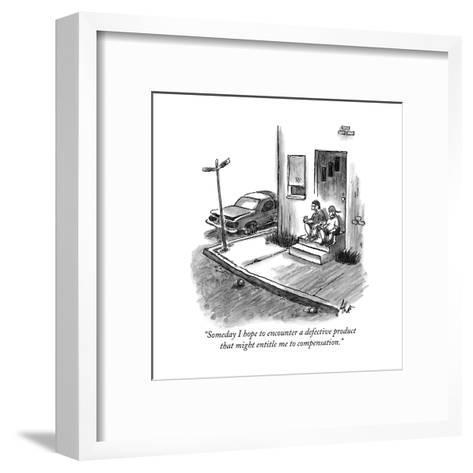 """""""Someday I hope to encounter a defective product that might entitle me to ?"""" - New Yorker Cartoon-Frank Cotham-Framed Art Print"""