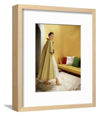 Model Wearing Gold Silk Taffeta Shantung Coat over a Gold Organdie Dress by Cecil Chapman--Framed Art Print