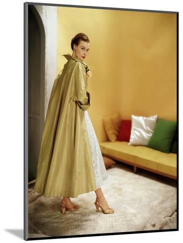 Model Wearing Gold Silk Taffeta Shantung Coat over a Gold Organdie Dress by Cecil Chapman--Mounted Premium Photographic Print