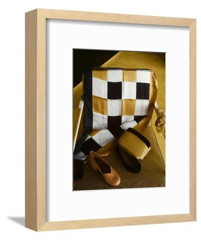 White, Gold and Black Checkered Silk Scarf, Shantung and Velvet Handbag, and Gold Kidskin Shoe--Framed Art Print