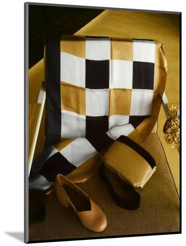 White, Gold and Black Checkered Silk Scarf, Shantung and Velvet Handbag, and Gold Kidskin Shoe--Mounted Premium Photographic Print