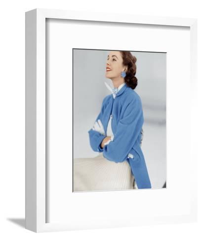 Model Wearing Stroock Fleece Turquoise Shirt Coat with Shirttails--Framed Art Print