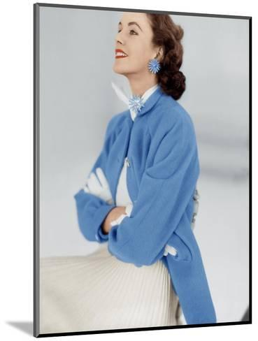 Model Wearing Stroock Fleece Turquoise Shirt Coat with Shirttails--Mounted Premium Photographic Print