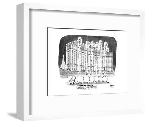 """TITLE """"The DARK UNDERBELLY of VEGAS FOUNTAINS"""" a line of whales lie in cha? - New Yorker Cartoon--Framed Art Print"""
