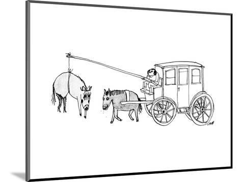 A handsome cab driver dangles a  horse in high heels and makeup in front o? - New Yorker Cartoon--Mounted Premium Giclee Print