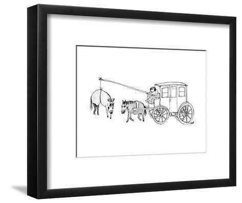 A handsome cab driver dangles a  horse in high heels and makeup in front o? - New Yorker Cartoon--Framed Art Print