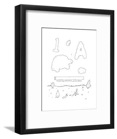 A boy looks up at the sky and sees a CAPTCHA formed of clouds, and prompti? - New Yorker Cartoon--Framed Art Print
