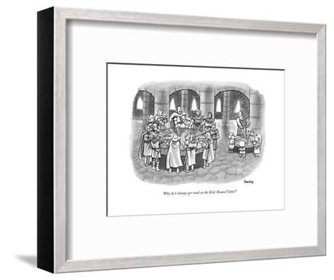 """Why do I always get stuck at the Kids' Round Table?"" - New Yorker Cartoon--Framed Art Print"