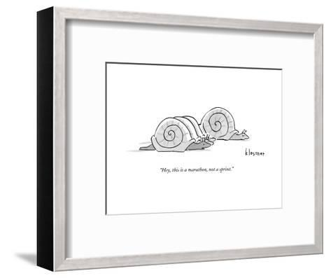 One snail pulls slightly ahead of a few other snails.  - New Yorker Cartoon--Framed Art Print