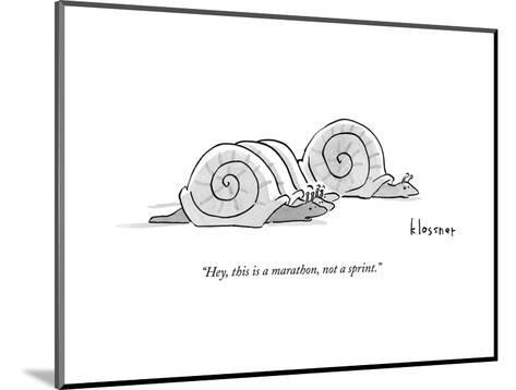 One snail pulls slightly ahead of a few other snails.  - New Yorker Cartoon--Mounted Premium Giclee Print