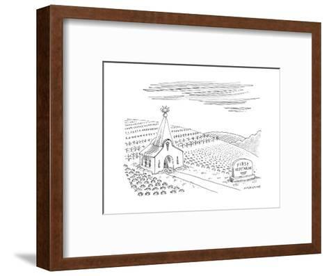 First Vegetarian church.  A pineapple instead of a cross at the steeple.  - New Yorker Cartoon--Framed Art Print